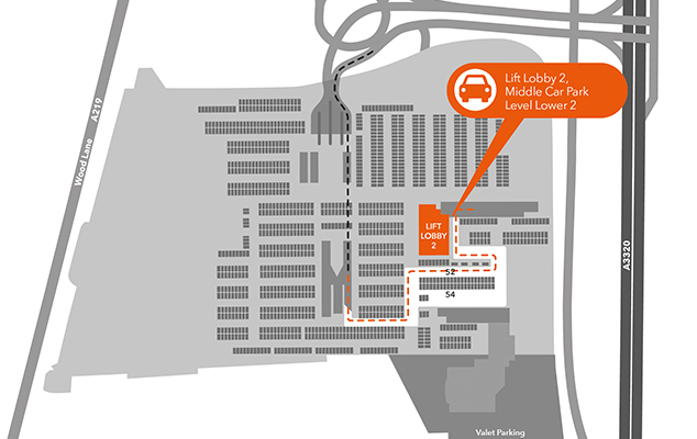 map of where to drop off your avis rental car at Westfield London