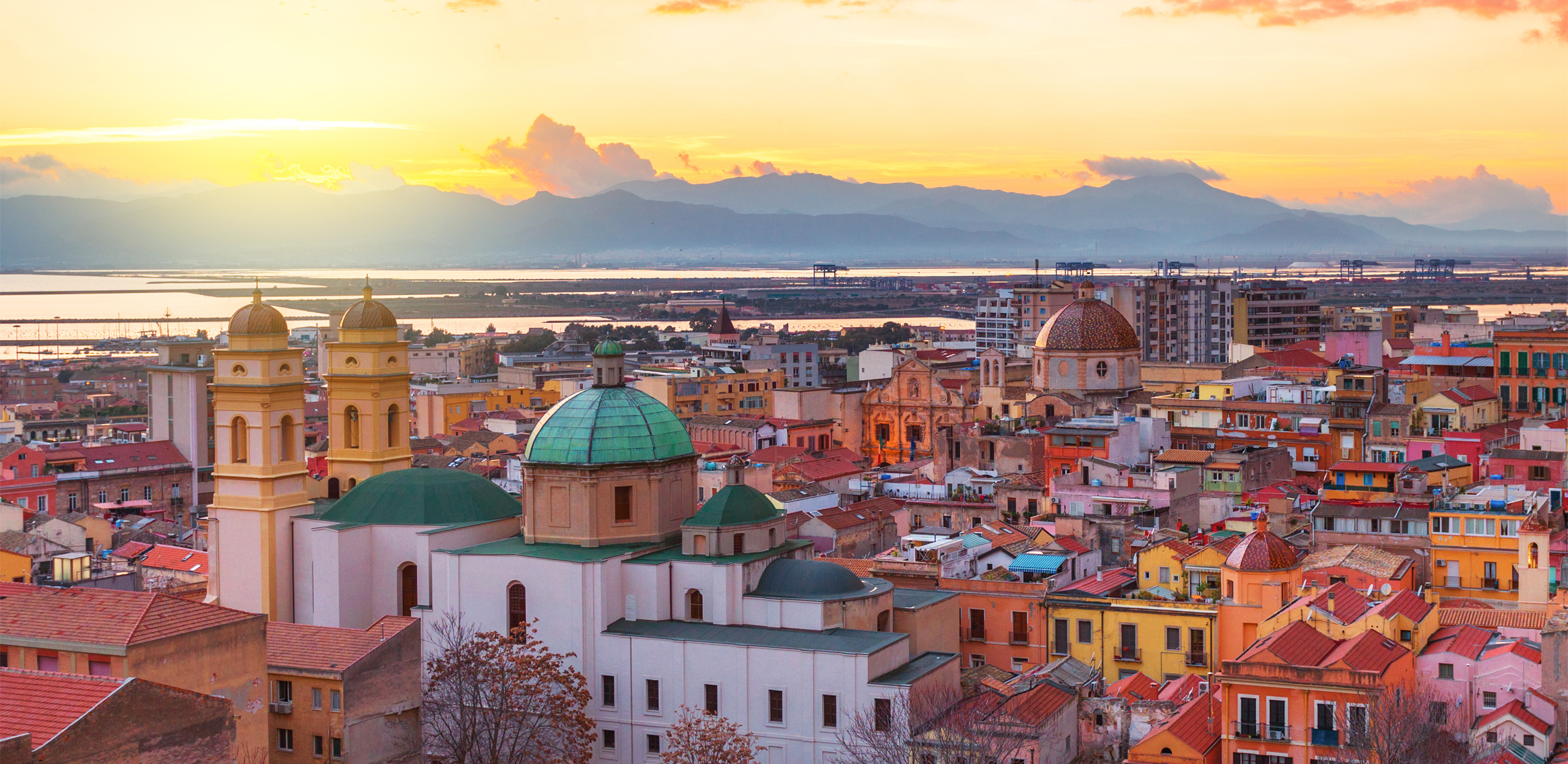 Panoramic view of Cagliari at sunset